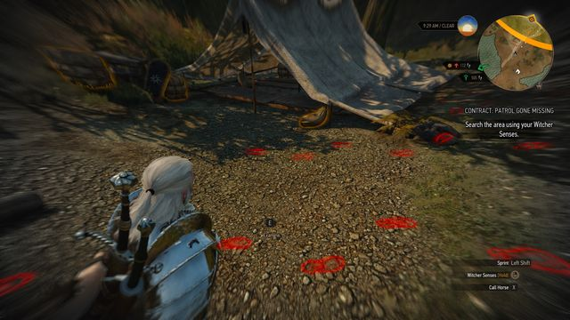 When you reach the camp examine it with witcher senses and follow the footprints. - Witcher Contracts in Military Camp - Military Camp - The Witcher 3: Wild Hunt Game Guide & Walkthrough