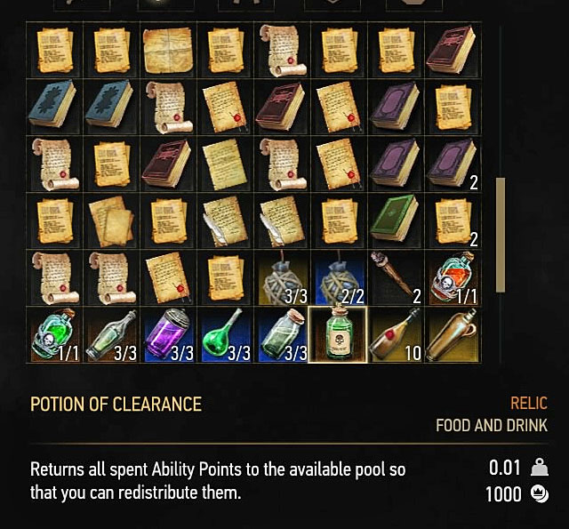After finalizing the transaction you must open the inventory, pick its second tab and find the Potion of Clearance (picture above) - How to reset skills (setting them anew)? - Character development - The Witcher 3: Wild Hunt Game Guide & Walkthrough