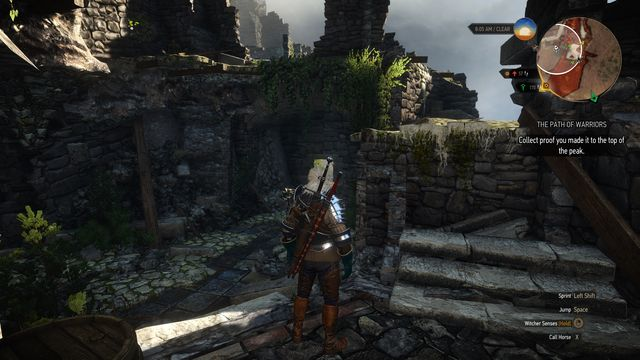 Further part of the road is behind the destroyed stairs. - Side quests in An Skellig - An Skellig - The Witcher 3: Wild Hunt Game Guide & Walkthrough