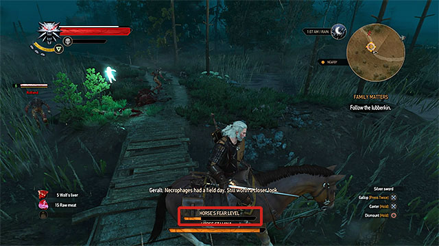 Observe the fear bar, when it gets full you will fall off the horse - Horse ride and swimming - Exploring the game world - The Witcher 3: Wild Hunt Game Guide & Walkthrough