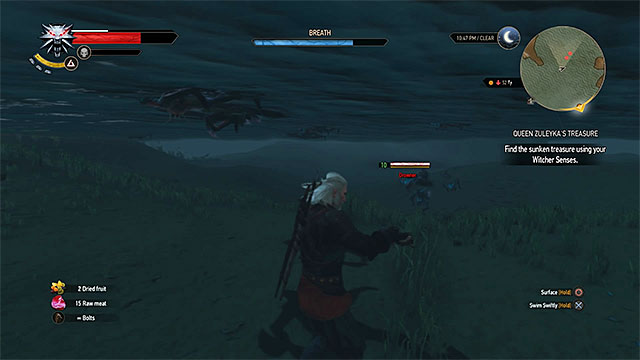 After obtaining the crossbow you can kill monsters attacking Geralt under water - Horse ride and swimming - Exploring the game world - The Witcher 3: Wild Hunt Game Guide & Walkthrough