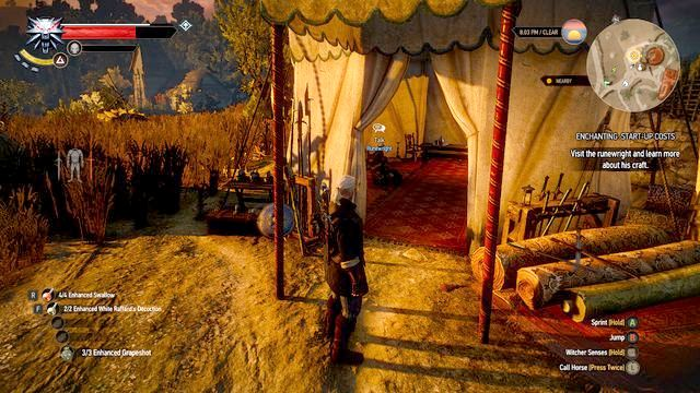 The runewright in his tent - Enchanting: Start-up Costs - Side quests - The Witcher 3: Wild Hunt Game Guide & Walkthrough