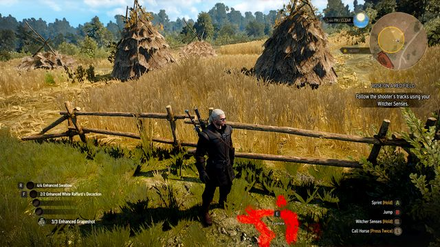 Behind the fence you will find track of the shooter - Rose on a Red Field - Side quests - The Witcher 3: Wild Hunt Game Guide & Walkthrough