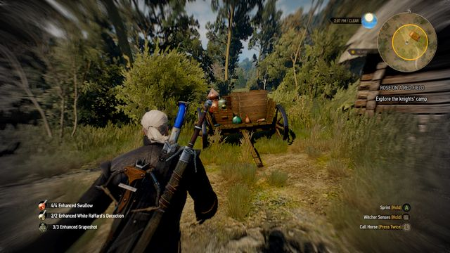 Your target is a note that can be found on the wagon left from the building - Rose on a Red Field - Side quests - The Witcher 3: Wild Hunt Game Guide & Walkthrough