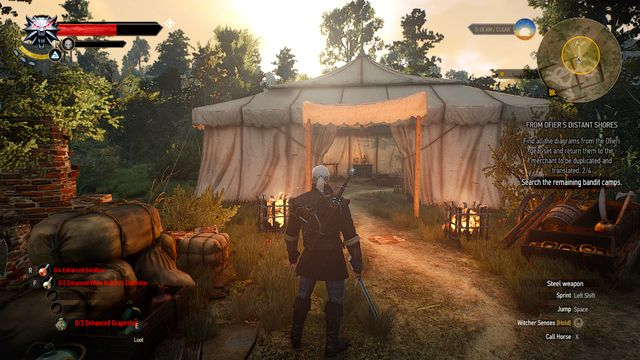 The tent with a chest containing the diagram - From Ofiers Distant Shores - Treasure hunts - The Witcher 3: Wild Hunt Game Guide & Walkthrough