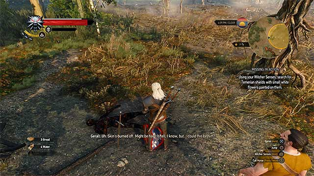 Examine the corpses with blue shield that have white flower on it - Side quests in White Orchard - Prologue and White Orchard - The Witcher 3: Wild Hunt Game Guide & Walkthrough
