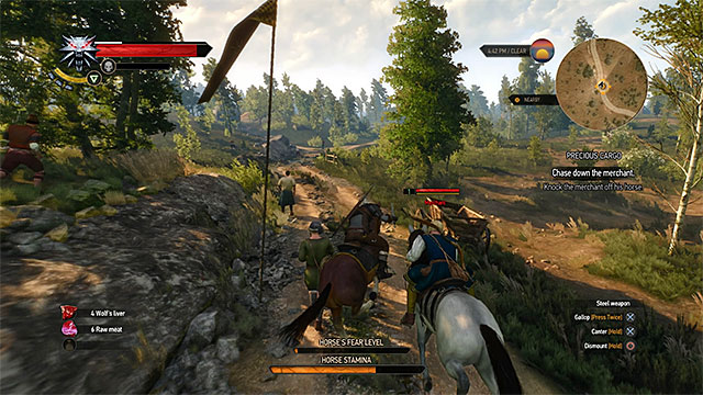 You can attack the merchant during the chase or deal with him after he reach his friends - Side quests in White Orchard - Prologue and White Orchard - The Witcher 3: Wild Hunt Game Guide & Walkthrough