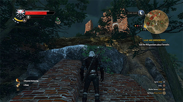 You can reach the camp in ruined castle with a little climbing - Treasure hunt in White Orchard - Prologue and White Orchard - The Witcher 3: Wild Hunt Game Guide & Walkthrough