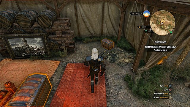 Chest with a precious sword is in the tent - Treasure hunt in White Orchard - Prologue and White Orchard - The Witcher 3: Wild Hunt Game Guide & Walkthrough