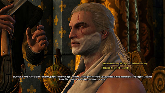 During the meeting with Morvran you can set main choices from Witcher 2 - Royal Audience - main quest - Prologue and White Orchard - The Witcher 3: Wild Hunt Game Guide & Walkthrough