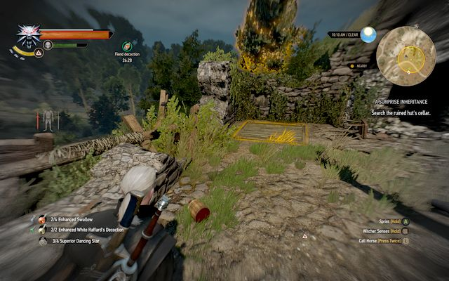 A hatch that leads to a stash near griffins nest - A Surprise Inheritance - Treasure hunts - The Witcher 3: Wild Hunt Game Guide & Walkthrough