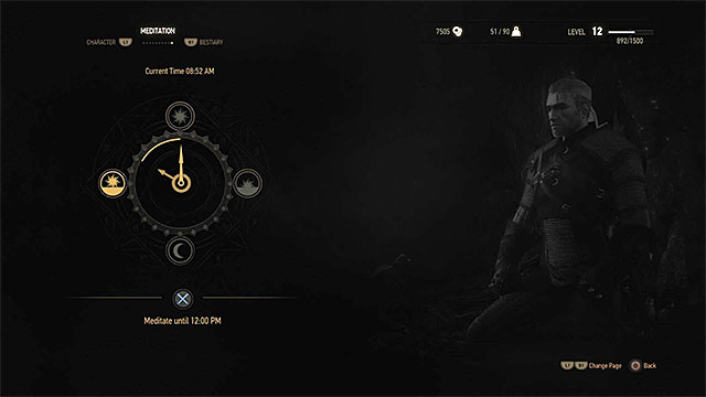 Meditation window - Healing during battle and meditation - Combat - The Witcher 3: Wild Hunt Game Guide & Walkthrough