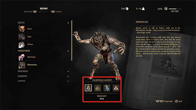 An example monster card - the game informs you of all his weaknesses - Preparing for battles with harder enemies - Combat - The Witcher 3: Wild Hunt Game Guide & Walkthrough