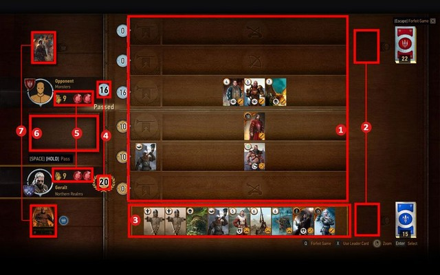 The game takes place on a separate board - a table - Basics of the game - Gwent game - The Witcher 3: Wild Hunt Game Guide & Walkthrough
