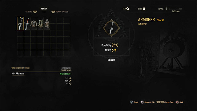 Weapons and armor parts can be repaired by your own or you can pay someone to do it for you - Inventory - Equipment management - The Witcher 3: Wild Hunt Game Guide & Walkthrough