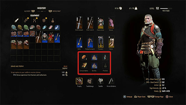 In the active slots you can place food and potions, bombs and special items - Inventory - Equipment management - The Witcher 3: Wild Hunt Game Guide & Walkthrough