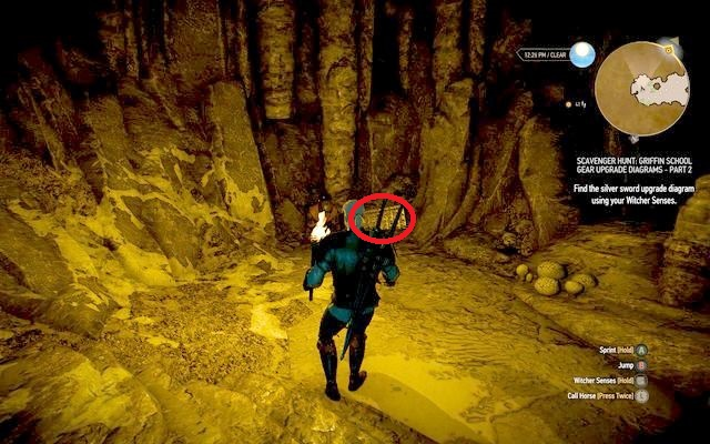 Chest with diagrams in the back of the cave. - Enhanced Griffin School Gear - Griffin School Gear - The Witcher 3: Wild Hunt Game Guide & Walkthrough