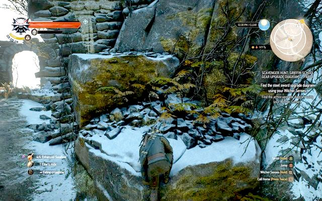 From the northern side, in front of the lair there are rocks you can climb on - Mastercrafted Griffin School Gear - Griffin School Gear - The Witcher 3: Wild Hunt Game Guide & Walkthrough