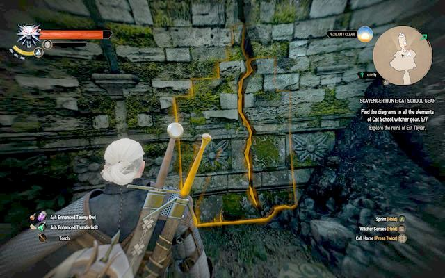 Crush the wall hiding the diagram. - Basic Cat School Gear - Cat School Gear - The Witcher 3: Wild Hunt Game Guide & Walkthrough