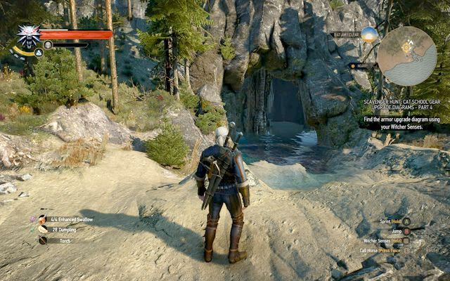 Entrance to the cave with the armor - Mastercrafted Cat School Gear - Cat School Gear - The Witcher 3: Wild Hunt Game Guide & Walkthrough