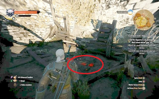 Schematic can be found to the right in an entrance in between the burned ruins - Wolf School Gear (DLC) - The Witcher 3: Wild Hunt Game Guide & Walkthrough