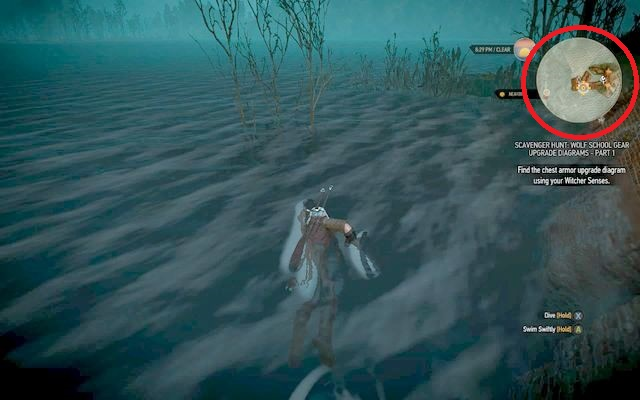 Dive there to find the chest. - Enhanced Wolf School Gear (DLC) - Wolf School Gear (DLC) - The Witcher 3: Wild Hunt Game Guide & Walkthrough