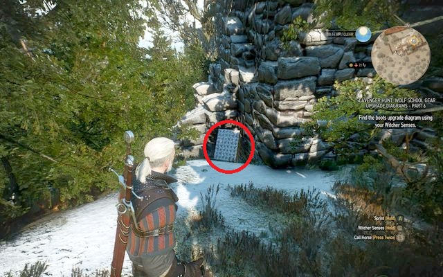 Behind the ruins of this building, between the bushes, you will find a chest on a wall - Mastercrafted Wolf School Gear (DLC) - Wolf School Gear (DLC) - The Witcher 3: Wild Hunt Game Guide & Walkthrough