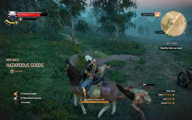 After saving him from the ghouls, help the poor guy get out from under the cart - Side quests in Crookback Bog - Crookback Bog - The Witcher 3: Wild Hunt Game Guide & Walkthrough