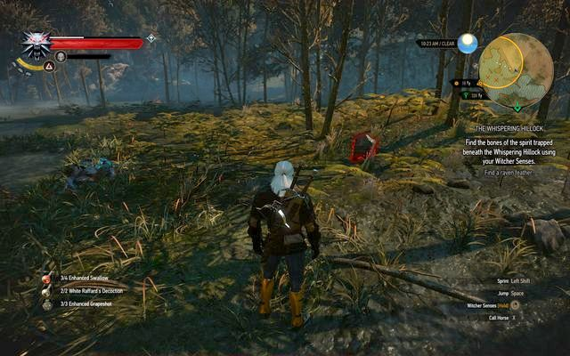 The grave pointed by the ghost from the tree - Side quests in Crookback Bog - Crookback Bog - The Witcher 3: Wild Hunt Game Guide & Walkthrough