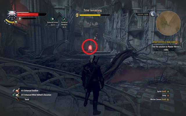 Once youre in the ruins, turn left immediately - you will notice one of the mirrors and a broken fountain there - Whatsoever a Man Soweth... - Main quests - The Witcher 3: Wild Hunt Game Guide & Walkthrough