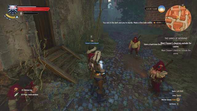 To attack the casino, talk with Cleavers group of dwarves. - Get Junior - main quest - Free City of Novigrad - The Witcher 3: Wild Hunt Game Guide & Walkthrough