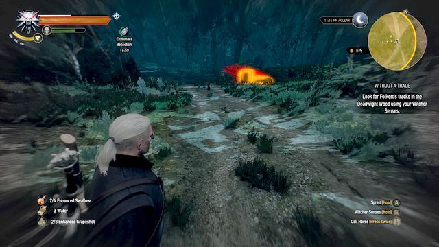After finding the cart you will notice the trail - Without a Trace - Side quests - The Witcher 3: Wild Hunt Game Guide & Walkthrough