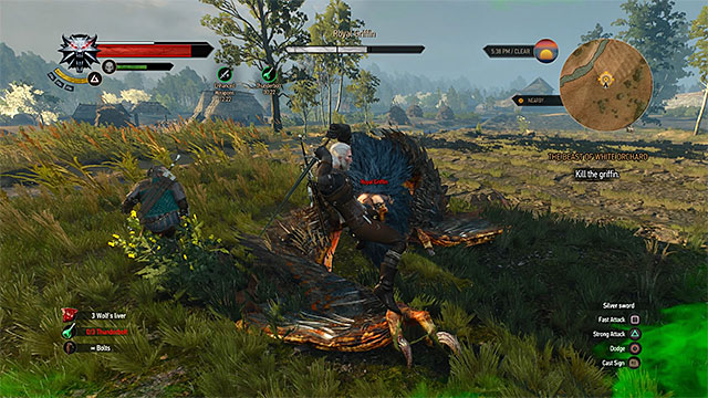Attack the griffin after he lands - How to kill the griffin met at the beginning of Witcher 3? - Frequently Asked Questions (FAQ) - The Witcher 3: Wild Hunt Game Guide & Walkthrough