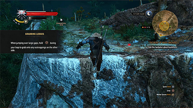 During the journey to griffin nest you must climb on the higher ledge and jump to a nearby one - The Beast of White Orchard - main quest - Prologue and White Orchard - The Witcher 3: Wild Hunt Game Guide & Walkthrough