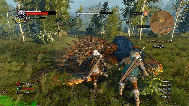 Use ranged attacks to force griffin to land. After that, attack him up close - The Beast of White Orchard - main quest - Prologue and White Orchard - The Witcher 3: Wild Hunt Game Guide & Walkthrough