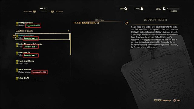 Colors in the journal symbolizes the difference between the suggested level to complete the quest and actual Geralts level - Why I dont receive any experience points for some quests? - Frequently Asked Questions (FAQ) - The Witcher 3: Wild Hunt Game Guide & Walkthrough