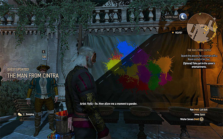 You can throw paint balls at the wall (press the button for additional items) to paint a picture - The Man From Cintra - Main quests - The Witcher 3: Blood and Wine Game Guide