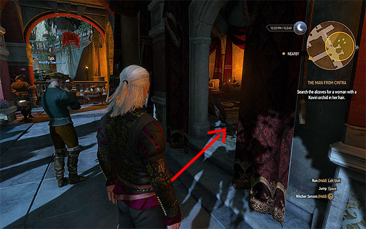 The alcove that you are searching for is in the northern part of the estate (the entrance has been shown in the screenshot - The Man From Cintra - Main quests - The Witcher 3: Blood and Wine Game Guide