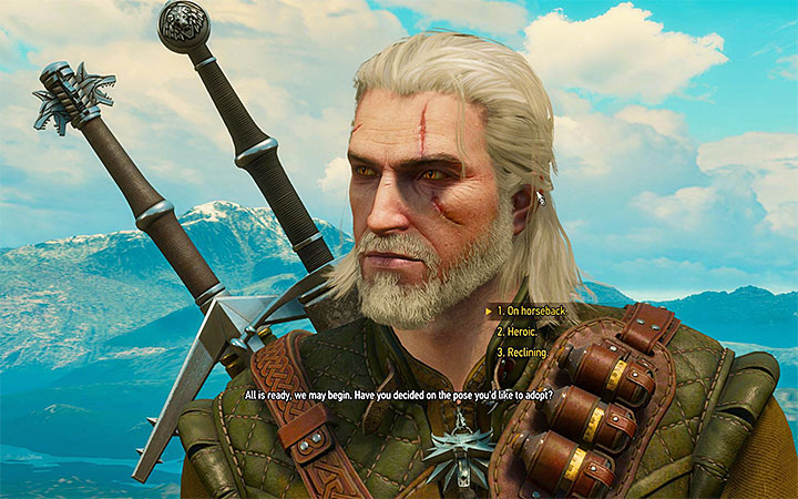 You can select a pose that will be recreated on the portrait - A Picture of the Witcher as an Old Man - Side quests - The Witcher 3: Blood and Wine Game Guide
