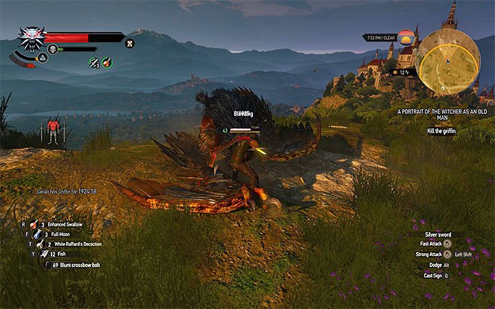 Use Aard or crossbow to get the griffin to the ground and then attack it - A Picture of the Witcher as an Old Man - Side quests - The Witcher 3: Blood and Wine Game Guide