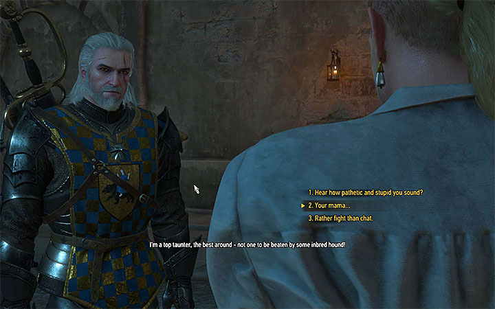 Geralt can beat Mancomb in a words competition - Smaller quests - Side quests - The Witcher 3: Blood and Wine Game Guide