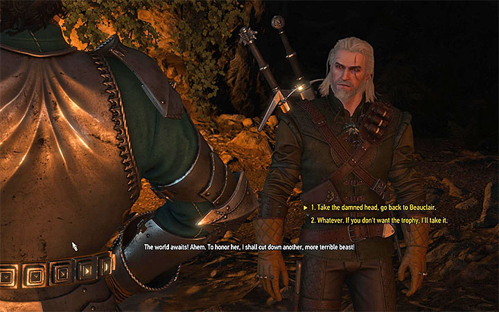 This is when you must make the decision - Feet As Cold As Ice - grottore contract - Witcher contracts and Treasure hunts quests - The Witcher 3: Blood and Wine Game Guide