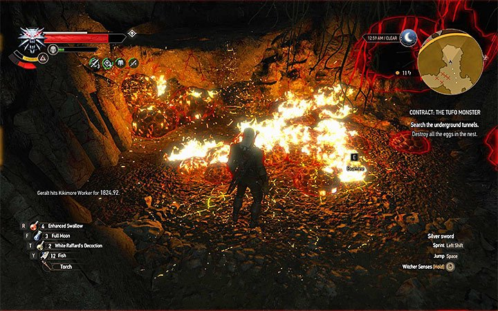 Burn the eggs with Igni sign - Contract: The Tufo Monster - shaelmaar contract - Witcher contracts and Treasure hunts quests - The Witcher 3: Blood and Wine Game Guide