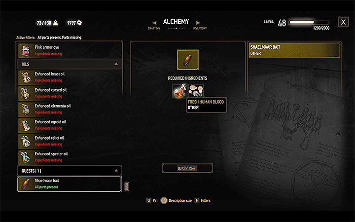 Open alchemy window after gathering all ingredients and find the bait which should be located at the bottom of the list (as shown on above picture) - Contract: The Tufo Monster - shaelmaar contract - Witcher contracts and Treasure hunts quests - The Witcher 3: Blood and Wine Game Guide