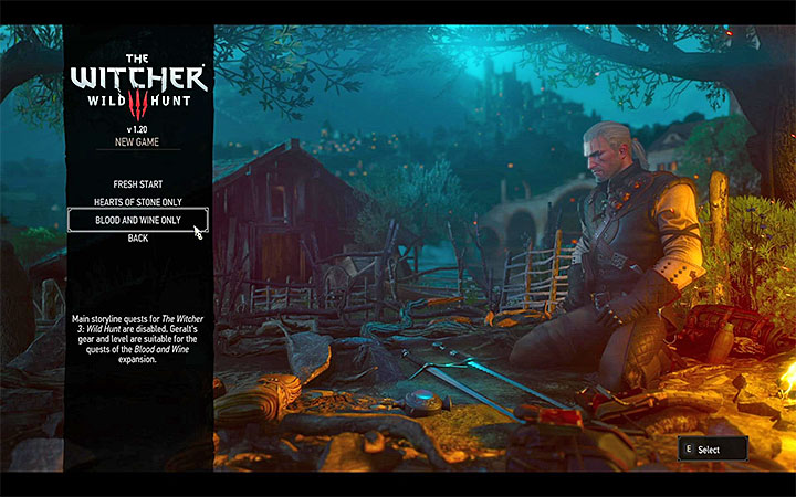 One possibility is to begin the expansion using a fresh, dedicated character - How and when to begin the Blood and Wine expansion? - Basic information - The Witcher 3: Blood and Wine Game Guide