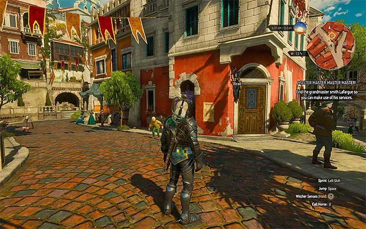 Location of the smith Zdravko in the city of Beauclair - New Grandmaster Witcher Gear - basic information - Grandmaster Witcher Gear - quests, diagrams and item statistics - The Witcher 3: Blood and Wine Game Guide