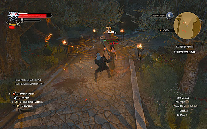 Attack the animated statues of women first. - Extreme Cosplay - Side quests - The Witcher 3: Blood and Wine Game Guide