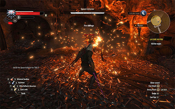 The Igni sign can set the enemy ablaze, exposing it to Geralts attacks. - La Cage au Fou - Main quests - The Witcher 3: Blood and Wine Game Guide