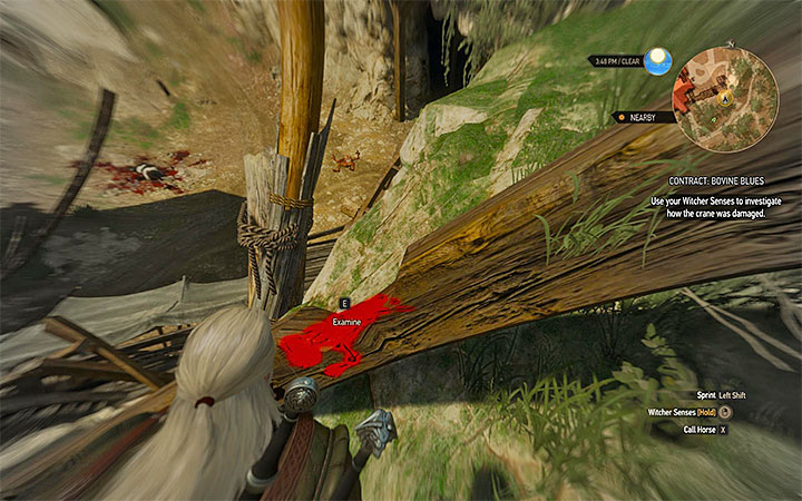 You have to reach the upper part of the quarry, and by using the witcher senses, locate the part of the crane which can be investigated - Contract: Bovine Blues - slyzards contract - Witcher contracts and Treasure hunts quests - The Witcher 3: Blood and Wine Game Guide