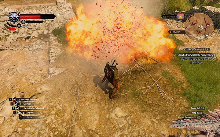 You can burn the eggs to complete a side objective - Contract: Bovine Blues - slyzards contract - Witcher contracts and Treasure hunts quests - The Witcher 3: Blood and Wine Game Guide